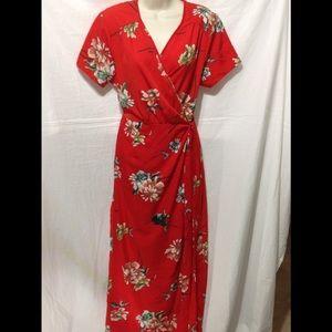 Women's sz XL LIVE 4 TRUTH floral wrap maxi dress